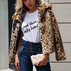 Jackets & Blazers - ➕💙Sexy Cropped Faux Fur Leopard Coat💙